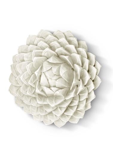 The Mia Duvar Dekoru Çiçek - 32 Cm Eskitme Beyaz Beyaz